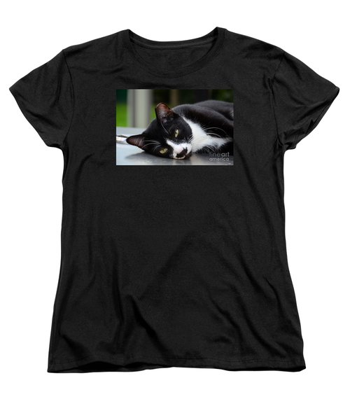 Cute Black And White Tuxedo Cat With Nipped Ear Rests  Women's T-Shirt (Standard Cut) by Imran Ahmed