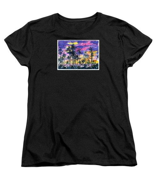 Cypress Sunset Women's T-Shirt (Standard Cut) by Anne Marie Brown