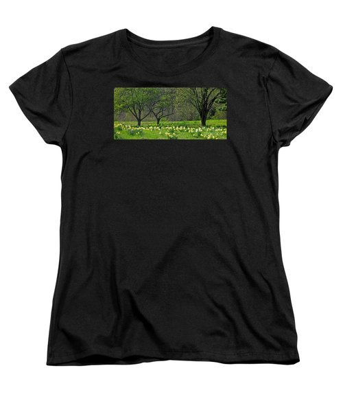 Women's T-Shirt (Standard Cut) featuring the photograph Daffodil Meadow by Ann Horn