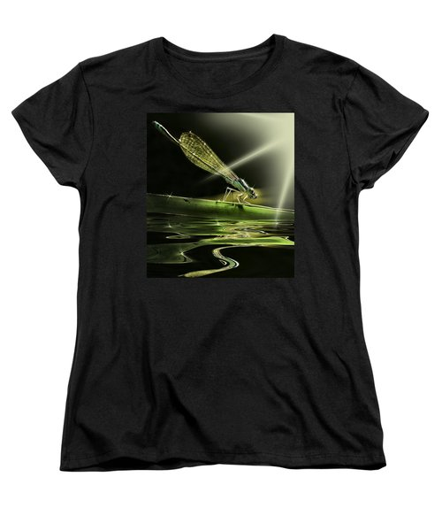 Damsel Dragon Fly  With Sparkling Reflection Women's T-Shirt (Standard Cut) by Peter v Quenter