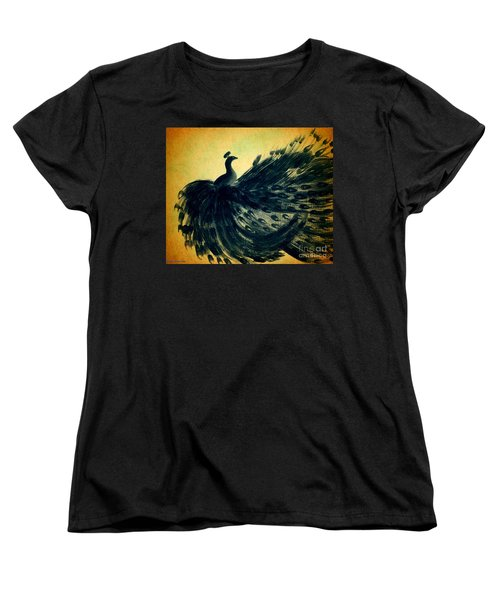 Women's T-Shirt (Standard Cut) featuring the painting Dancing Peacock Gold by Anita Lewis