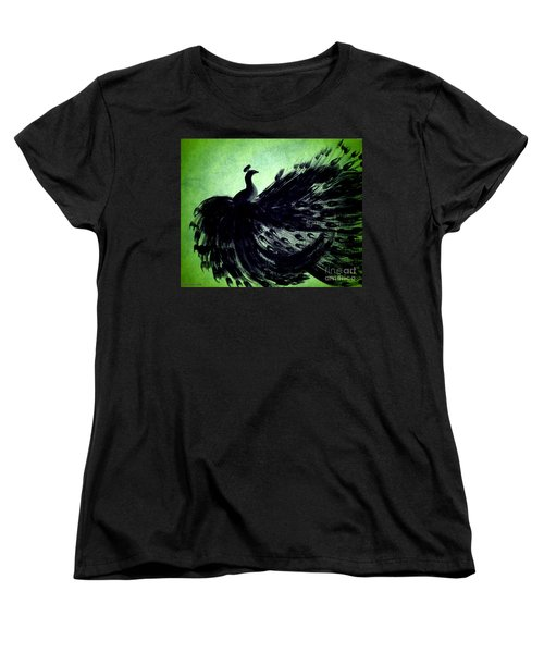 Dancing Peacock Green Women's T-Shirt (Standard Cut) by Anita Lewis