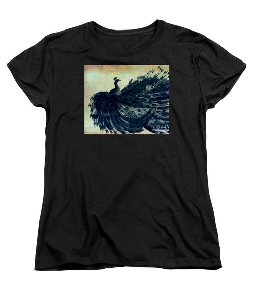 Women's T-Shirt (Standard Cut) featuring the painting Dancing Peacock Mint by Anita Lewis