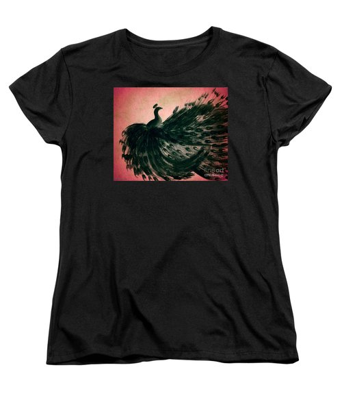 Dancing Peacock Pink Women's T-Shirt (Standard Cut) by Anita Lewis
