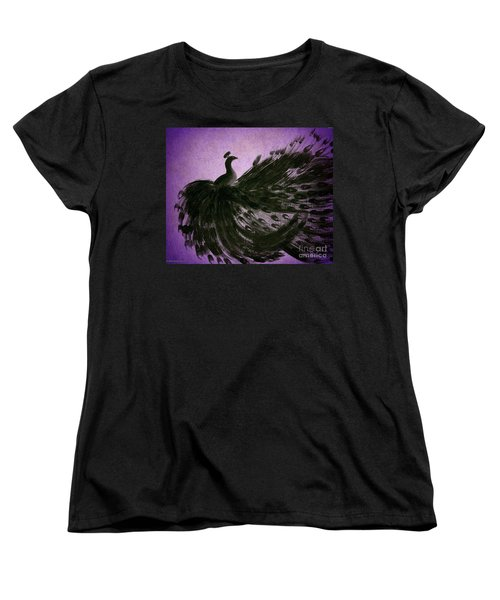 Dancing Peacock Vivid Purple Women's T-Shirt (Standard Cut) by Anita Lewis