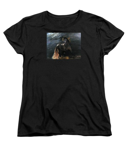 Women's T-Shirt (Standard Cut) featuring the painting Dappled Horse In Stormy Light by LaVonne Hand