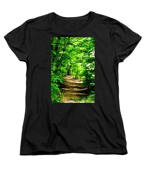 Dappled Sunlit Path In The Forest Women's T-Shirt (Standard Cut) by Maria Urso