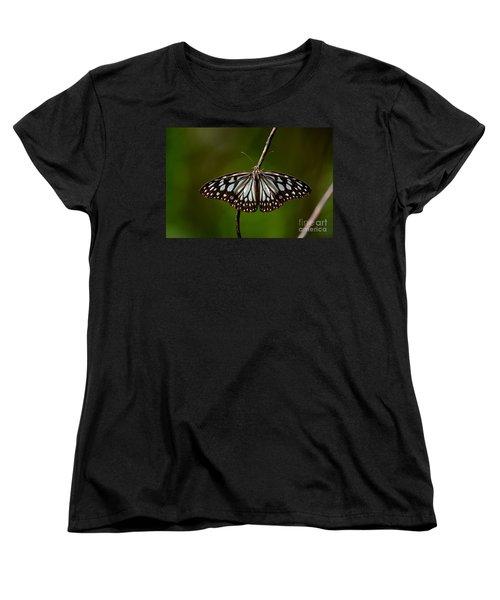Dark Glassy Tiger Butterfly On Branch Women's T-Shirt (Standard Cut) by Imran Ahmed