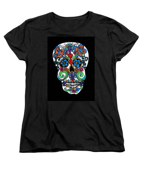 Day Of The Dead Skull Women's T-Shirt (Standard Cut) by Genevieve Esson