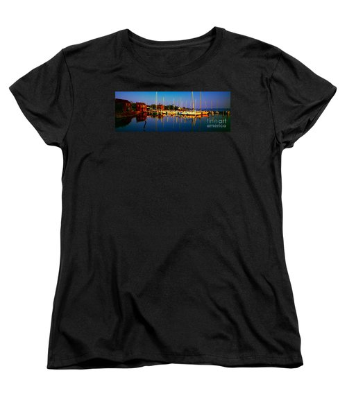 Women's T-Shirt (Standard Cut) featuring the photograph Daytona Beach Florida Inland Waterway Private Boat Yard With Bird   by Tom Jelen