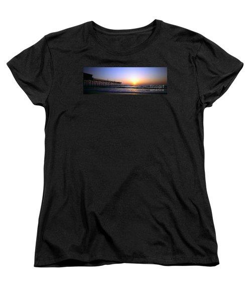 Women's T-Shirt (Standard Cut) featuring the photograph Daytona Sun Glow Pier  by Tom Jelen
