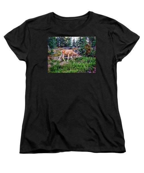 Women's T-Shirt (Standard Cut) featuring the photograph Deer 1 by Dawn Eshelman