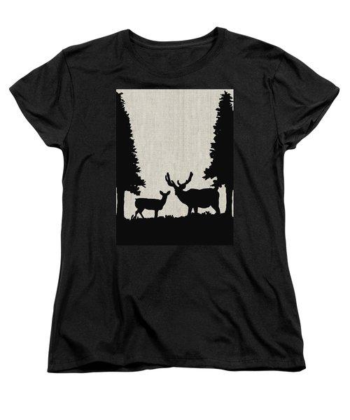 Deer In Forest Women's T-Shirt (Standard Cut) by Enzie Shahmiri
