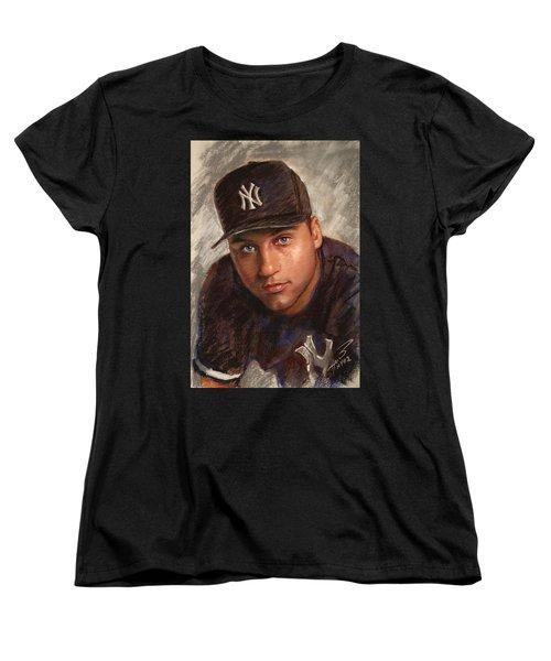 Women's T-Shirt (Standard Cut) featuring the drawing Derek Jeter by Viola El