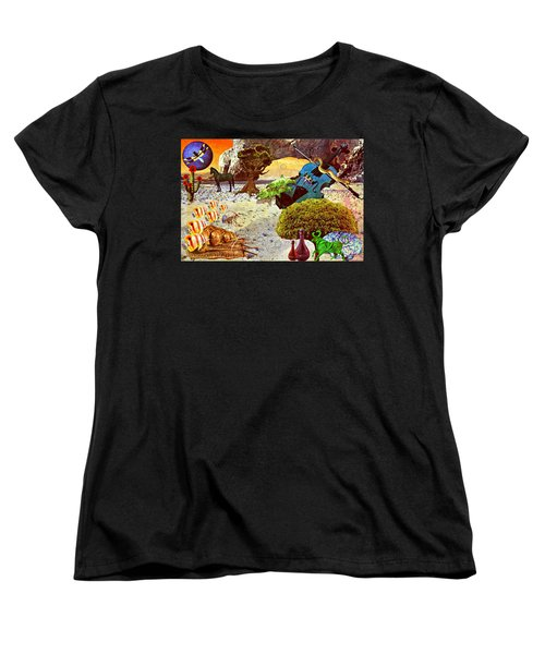 Women's T-Shirt (Standard Cut) featuring the mixed media Desert Blues by Ally  White