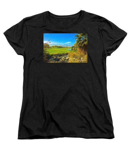 Women's T-Shirt (Standard Cut) featuring the photograph Desert Golf Resort Pastel Photograph by David Zanzinger