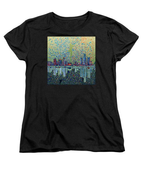 Detroit Skyline Abstract 3 Women's T-Shirt (Standard Cut) by Bekim Art