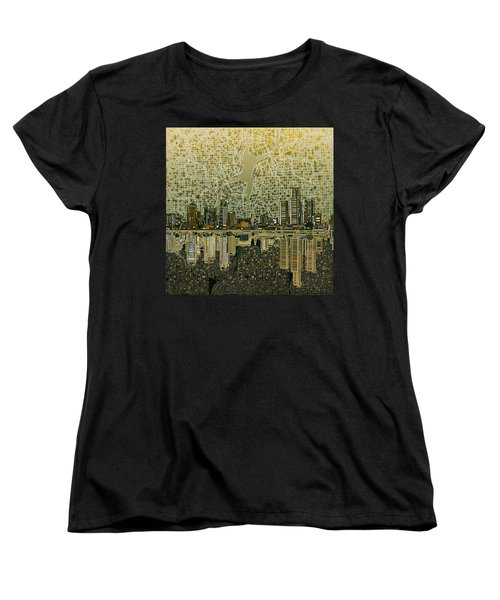Detroit Skyline Abstract 4 Women's T-Shirt (Standard Cut) by Bekim Art