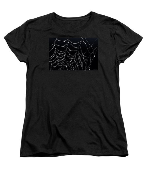 Women's T-Shirt (Standard Cut) featuring the photograph Dew Drops On Web 2 by Marty Saccone