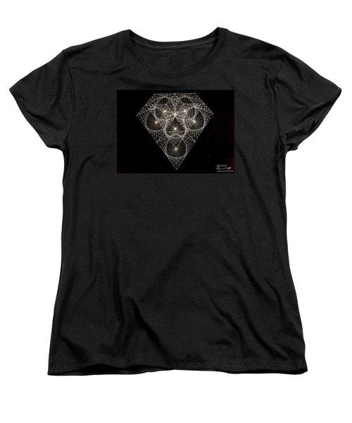 Women's T-Shirt (Standard Cut) featuring the drawing Diamond White And Black by Jason Padgett