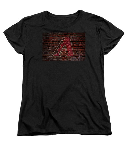 Diamondbacks Baseball Graffiti On Brick  Women's T-Shirt (Standard Cut) by Movie Poster Prints