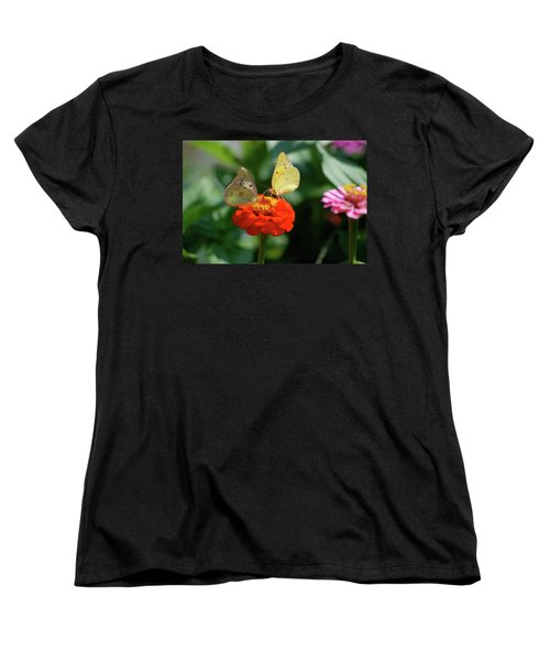 Women's T-Shirt (Standard Cut) featuring the photograph Dinner Table For Two Butterflies by Thomas Woolworth