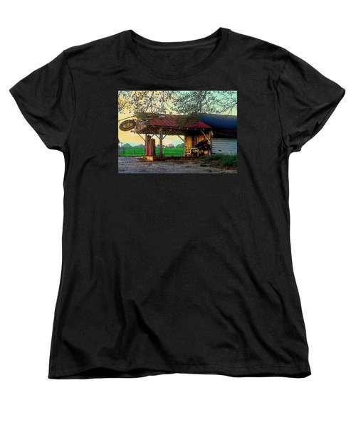 Women's T-Shirt (Standard Cut) featuring the photograph Dixie Oil And Gasoline by Rodney Lee Williams
