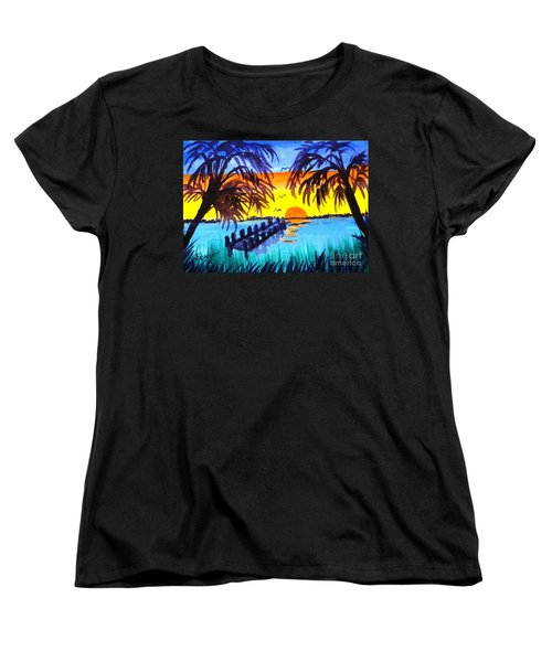 Women's T-Shirt (Standard Cut) featuring the painting Dock At Sunset by Ecinja Art Works