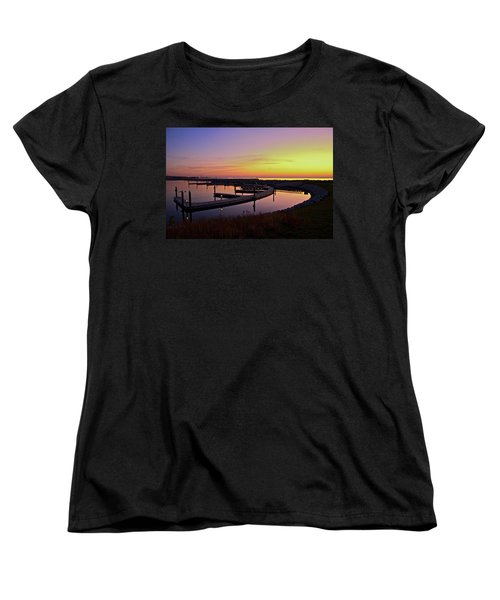 Docks At Sunrise Women's T-Shirt (Standard Cut) by Jonah  Anderson