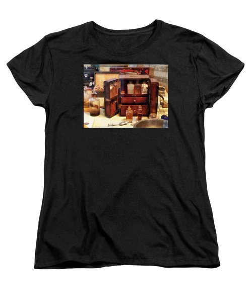 Women's T-Shirt (Standard Cut) featuring the photograph Doctor - Case With Medicine Bottles by Susan Savad