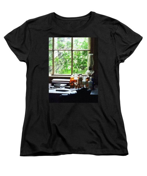Women's T-Shirt (Standard Cut) featuring the photograph Doctor - Medicine And Hurricane Lamp by Susan Savad