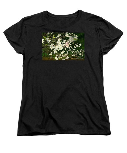Women's T-Shirt (Standard Cut) featuring the painting Dogwoods Virginia by Melly Terpening