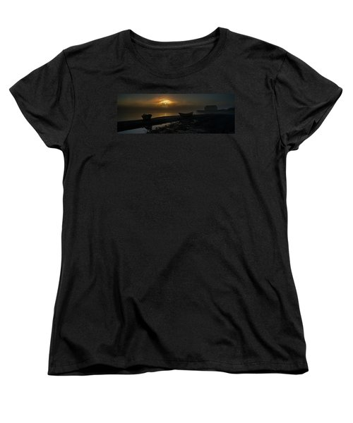 Women's T-Shirt (Standard Cut) featuring the photograph Dories Beached In Lifting Fog by Marty Saccone
