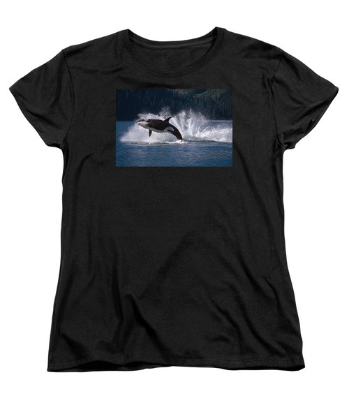 Double Breaching Orcas Bainbridge Women's T-Shirt (Standard Fit)
