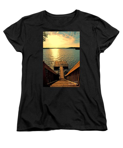 Down To The Fishing Dock - Lake Of The Ozarks Mo Women's T-Shirt (Standard Cut) by Debbie Portwood