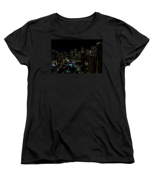 Downtown Houston At Night Women's T-Shirt (Standard Cut) by Judy Vincent