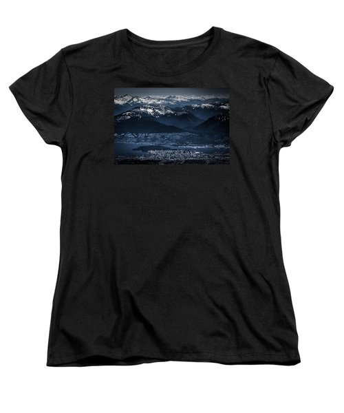 Downtown Vancouver And The Mountains Aerial View Low Key Women's T-Shirt (Standard Cut) by Eti Reid