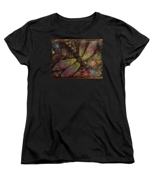 Women's T-Shirt (Standard Cut) featuring the painting Dragonfly by Megan Walsh