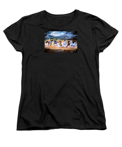 Dream Horse Series 125 - Flat Bottom River Wild Horse Herd Women's T-Shirt (Standard Cut) by Cheryl Poland
