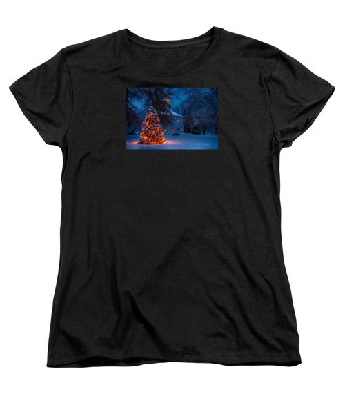 Christmas At The Richmond Round Church Women's T-Shirt (Standard Cut) by Jeff Folger