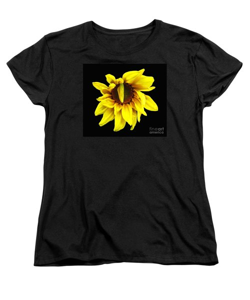 Droops Sunflower With Oil Painting Effect Women's T-Shirt (Standard Cut) by Rose Santuci-Sofranko