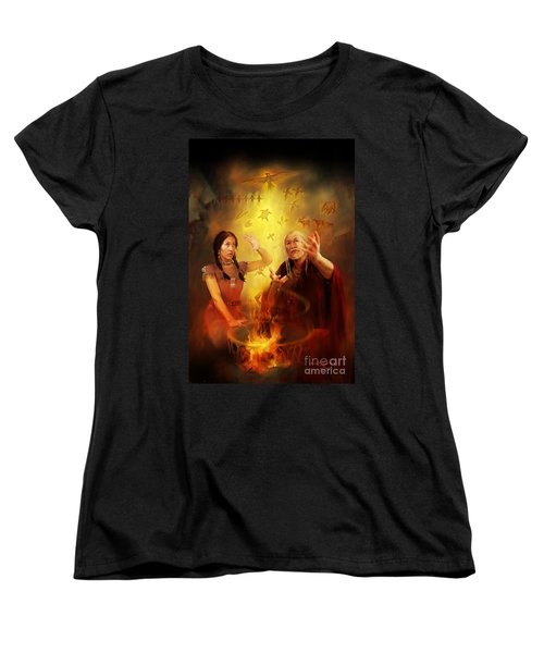 Women's T-Shirt (Standard Cut) featuring the painting Drum Story Elders Teaching by Rob Corsetti