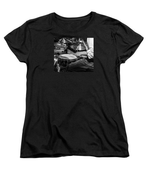 Drummer At Work Women's T-Shirt (Standard Cut) by Photographic Arts And Design Studio