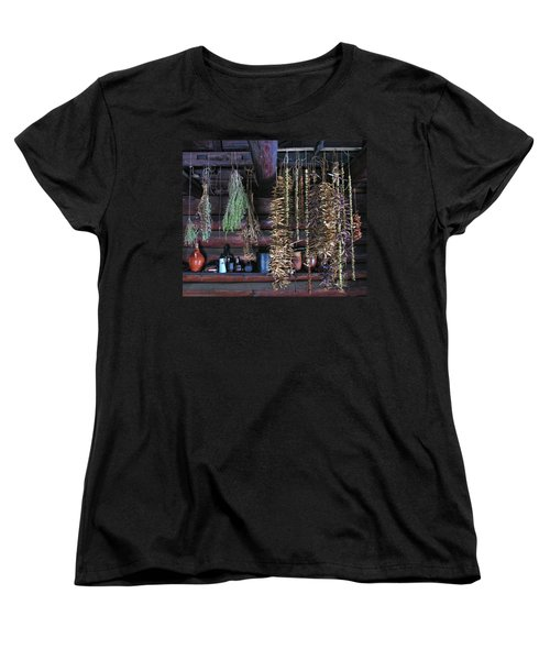 Drying Herbs And Vegetables In Williamsburg Women's T-Shirt (Standard Cut) by Dave Mills