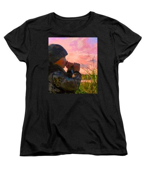 Duck Call Women's T-Shirt (Standard Cut) by Michael Pickett