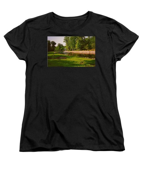 Duck Pond With Water Fountain Women's T-Shirt (Standard Cut) by Amazing Photographs AKA Christian Wilson
