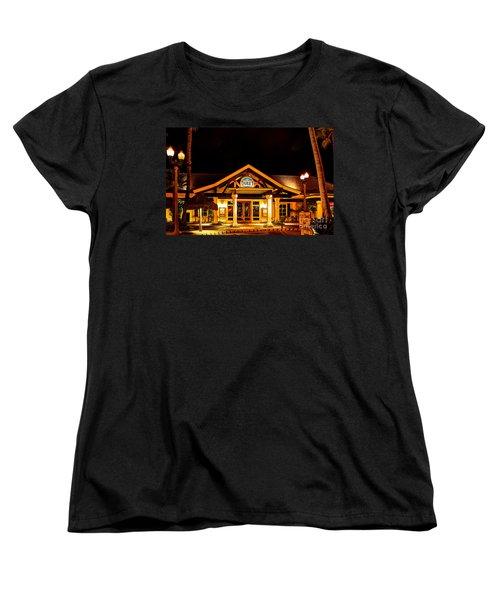 Women's T-Shirt (Standard Cut) featuring the photograph Duke's Restaurant Front - Huntington Beach by Jim Carrell