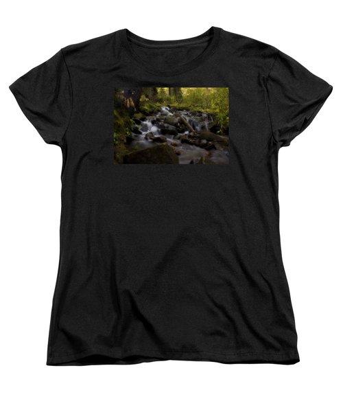 Women's T-Shirt (Standard Cut) featuring the photograph Early Autumn Cascades by Ellen Heaverlo