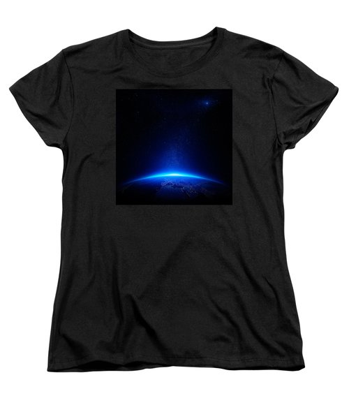 Earth At Night With City Lights Women's T-Shirt (Standard Cut) by Johan Swanepoel