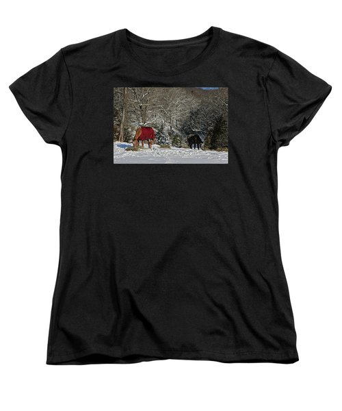 Eating Hay In The Snow Women's T-Shirt (Standard Cut) by Denise Romano